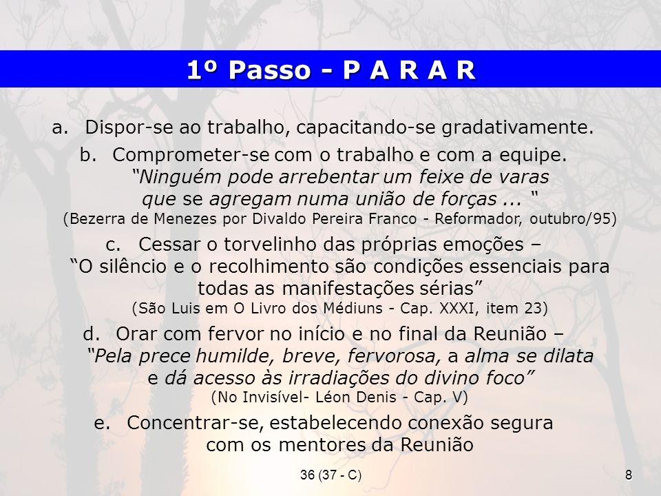 36 (37 - C)19 a)Promover o afastamento do Espírito comunicante, proferindo frases indicativas; indução ao sono, encaminhamento aos benfeitores espirituais, proferindo uma prece, etc.