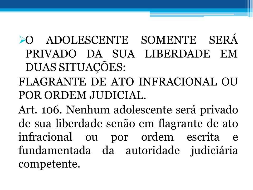 O ADOLESCENTE SOMENTE SERÁ PRIVADO DA SUA LIBERDADE EM DUAS SITUAÇÕES: FLAGRANTE DE ATO INFRACIONAL OU POR ORDEM JUDICIAL. Art. 106. Nenhum adolescent