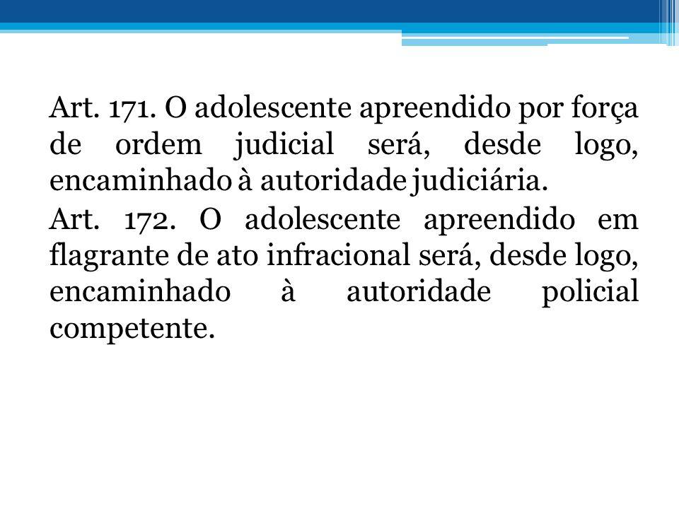 Art. 171. O adolescente apreendido por força de ordem judicial será, desde logo, encaminhado à autoridade judiciária. Art. 172. O adolescente apreendi