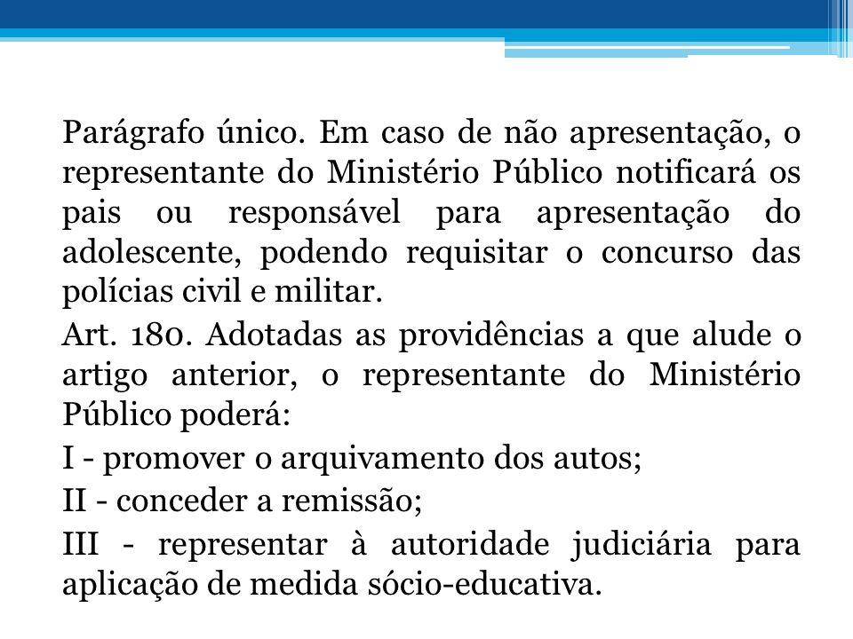 Parágrafo único. Em caso de não apresentação, o representante do Ministério Público notificará os pais ou responsável para apresentação do adolescente