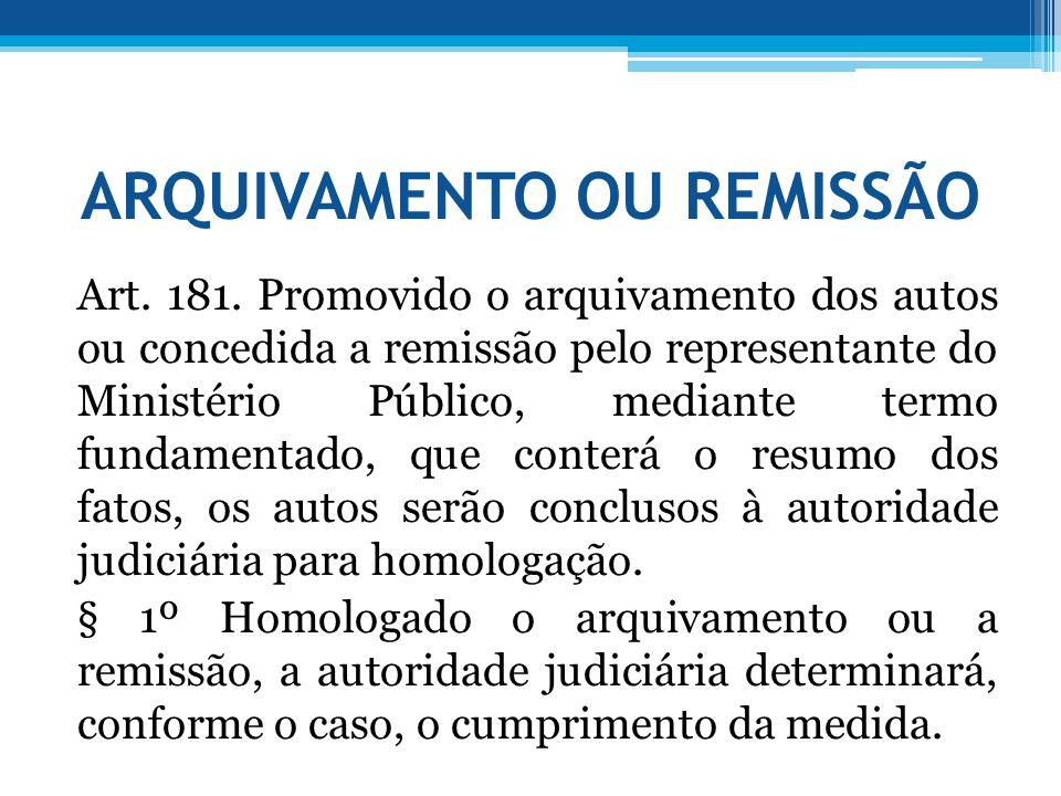 ARQUIVAMENTO OU REMISSÃO Art. 181. Promovido o arquivamento dos autos ou concedida a remissão pelo representante do Ministério Público, mediante termo