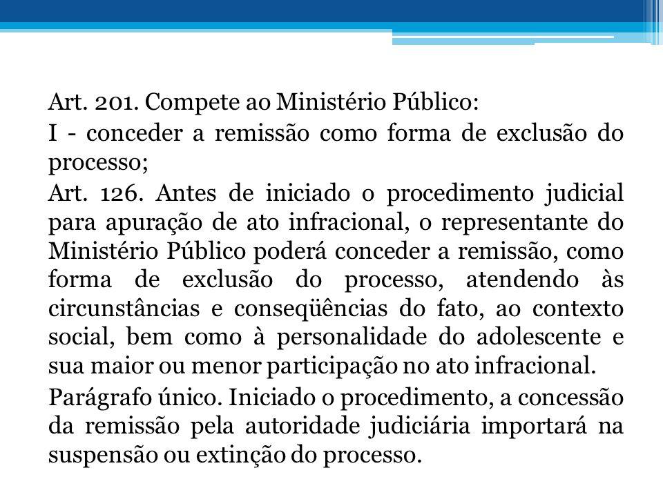 Art. 201. Compete ao Ministério Público: I - conceder a remissão como forma de exclusão do processo; Art. 126. Antes de iniciado o procedimento judici