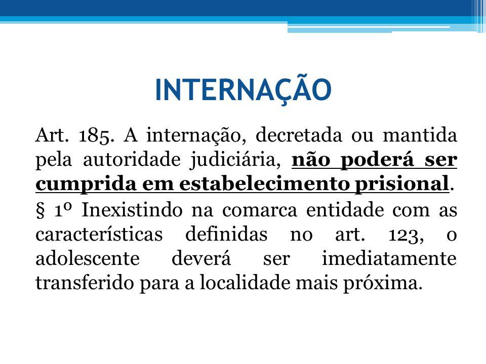 INTERNAÇÃO Art. 185. A internação, decretada ou mantida pela autoridade judiciária, não poderá ser cumprida em estabelecimento prisional. § 1º Inexist