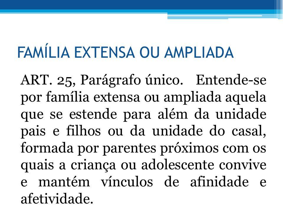 FAMÍLIA EXTENSA OU AMPLIADA ART. 25, Parágrafo único. Entende-se por família extensa ou ampliada aquela que se estende para além da unidade pais e fil