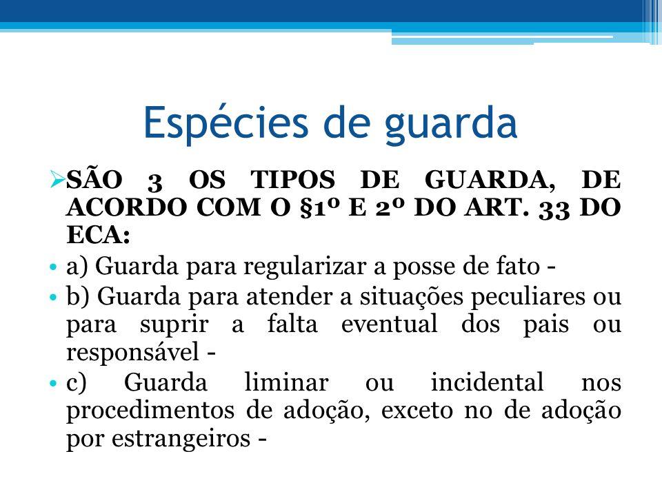 Espécies de guarda SÃO 3 OS TIPOS DE GUARDA, DE ACORDO COM O §1º E 2º DO ART. 33 DO ECA: a) Guarda para regularizar a posse de fato - b) Guarda para a