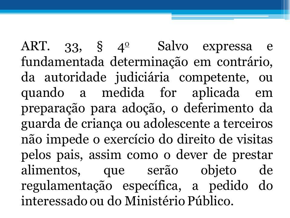 ART. 33, § 4 o Salvo expressa e fundamentada determinação em contrário, da autoridade judiciária competente, ou quando a medida for aplicada em prepar