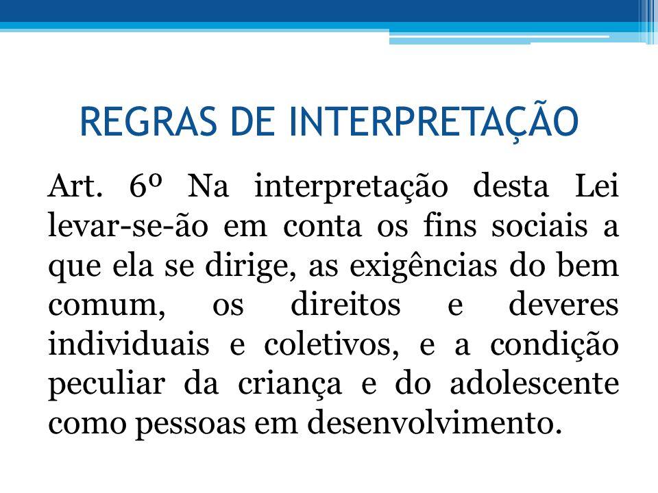 REGRAS DE INTERPRETAÇÃO Art. 6º Na interpretação desta Lei levar-se-ão em conta os fins sociais a que ela se dirige, as exigências do bem comum, os di