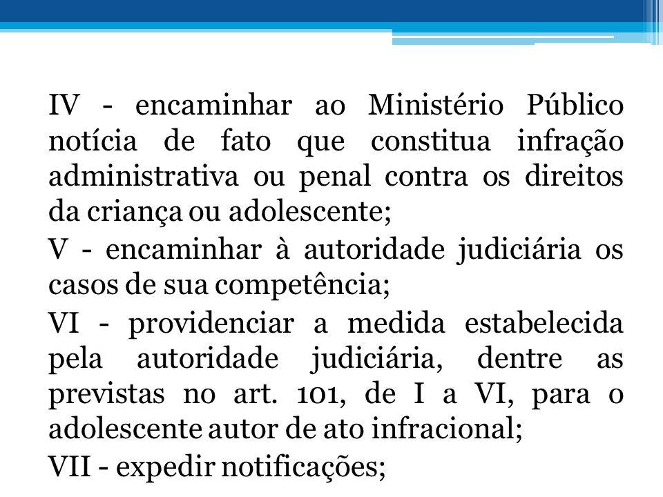 IV - encaminhar ao Ministério Público notícia de fato que constitua infração administrativa ou penal contra os direitos da criança ou adolescente; V -