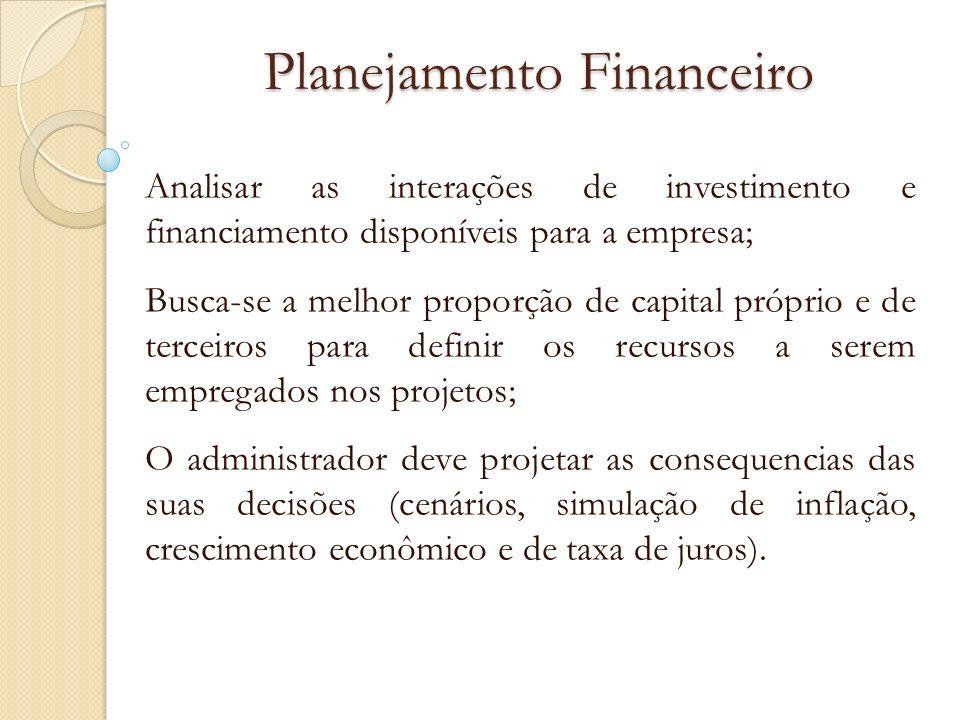 Planejamento Financeiro Analisar as interações de investimento e financiamento disponíveis para a empresa; Busca-se a melhor proporção de capital próp