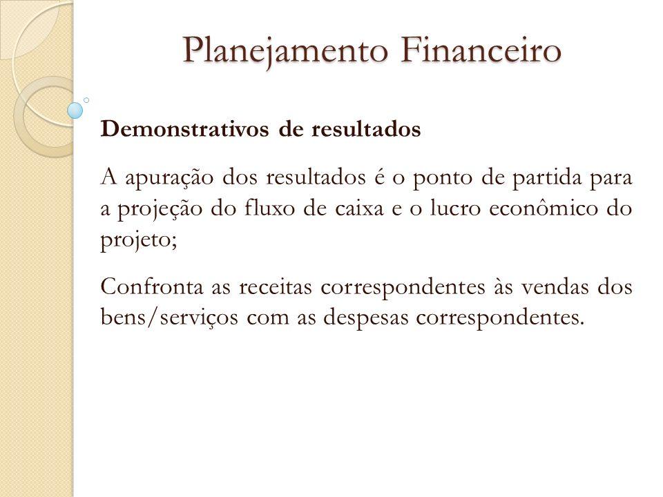 Planejamento Financeiro Demonstrativos de resultados A apuração dos resultados é o ponto de partida para a projeção do fluxo de caixa e o lucro econôm