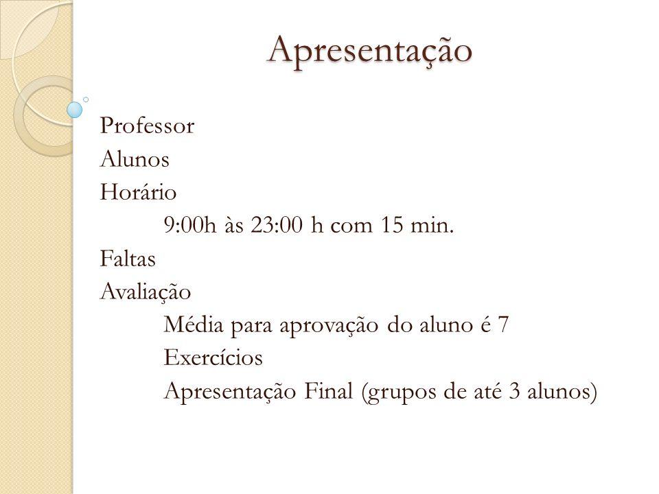 Apresentação Professor Alunos Horário 9:00h às 23:00 h com 15 min. Faltas Avaliação Média para aprovação do aluno é 7 Exercícios Apresentação Final (g