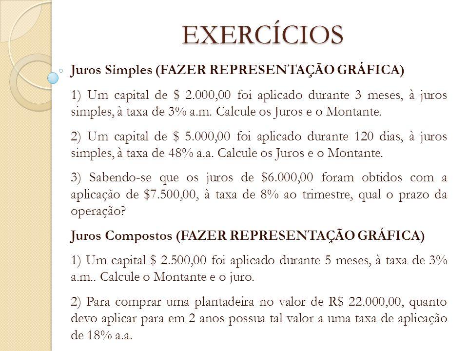 EXERCÍCIOS Juros Simples (FAZER REPRESENTAÇÃO GRÁFICA) 1) Um capital de $ 2.000,00 foi aplicado durante 3 meses, à juros simples, à taxa de 3% a.m. Ca