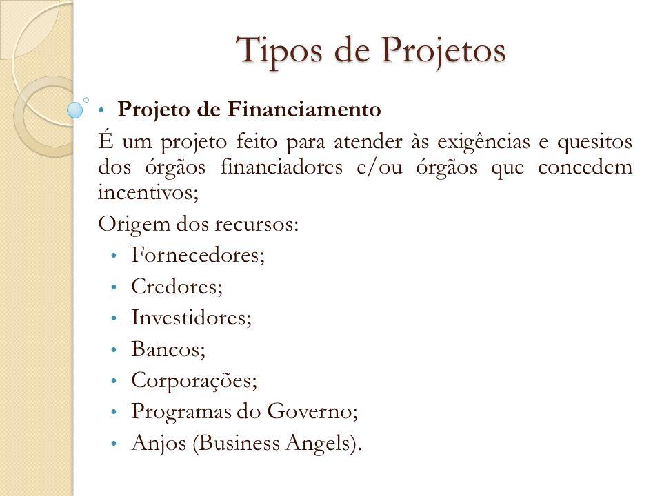 Tipos de Projetos Projeto de Financiamento É um projeto feito para atender às exigências e quesitos dos órgãos financiadores e/ou órgãos que concedem