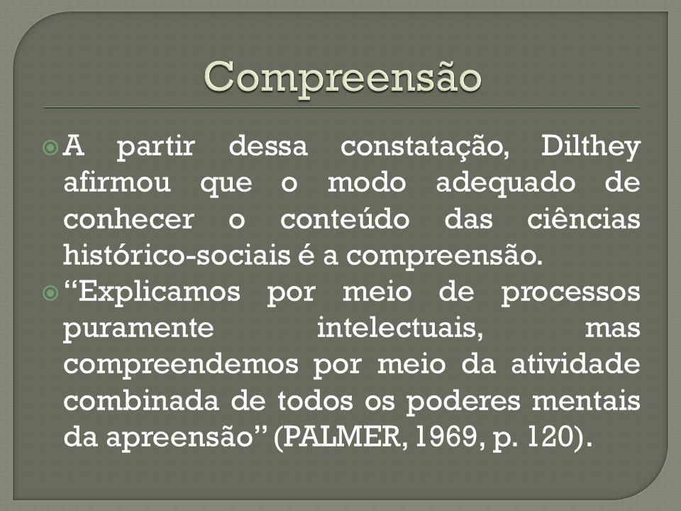 A partir dessa constatação, Dilthey afirmou que o modo adequado de conhecer o conteúdo das ciências histórico-sociais é a compreensão. Explicamos por