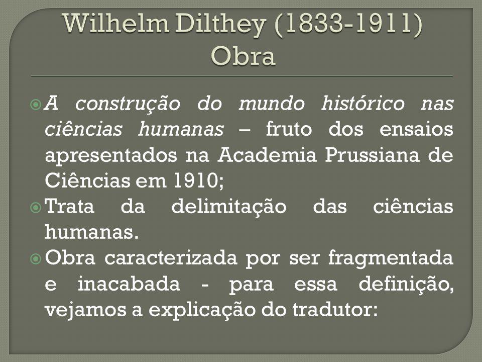 A construção do mundo histórico nas ciências humanas – fruto dos ensaios apresentados na Academia Prussiana de Ciências em 1910; Trata da delimitação das ciências humanas.