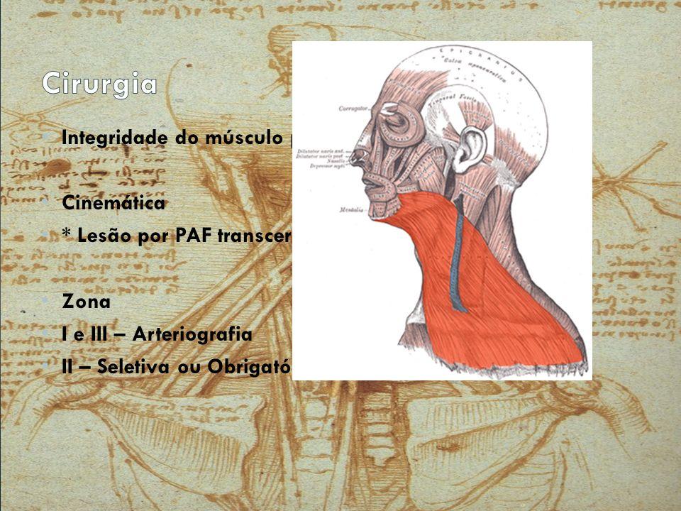 Integridade do músculo platisma Cinemática * Lesão por PAF transcervical Zona I e III – Arteriografia II – Seletiva ou Obrigatória ?