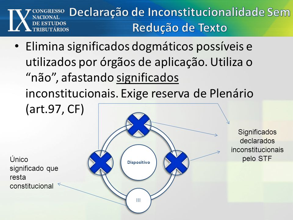 Elimina significados dogmáticos possíveis e utilizados por órgãos de aplicação.