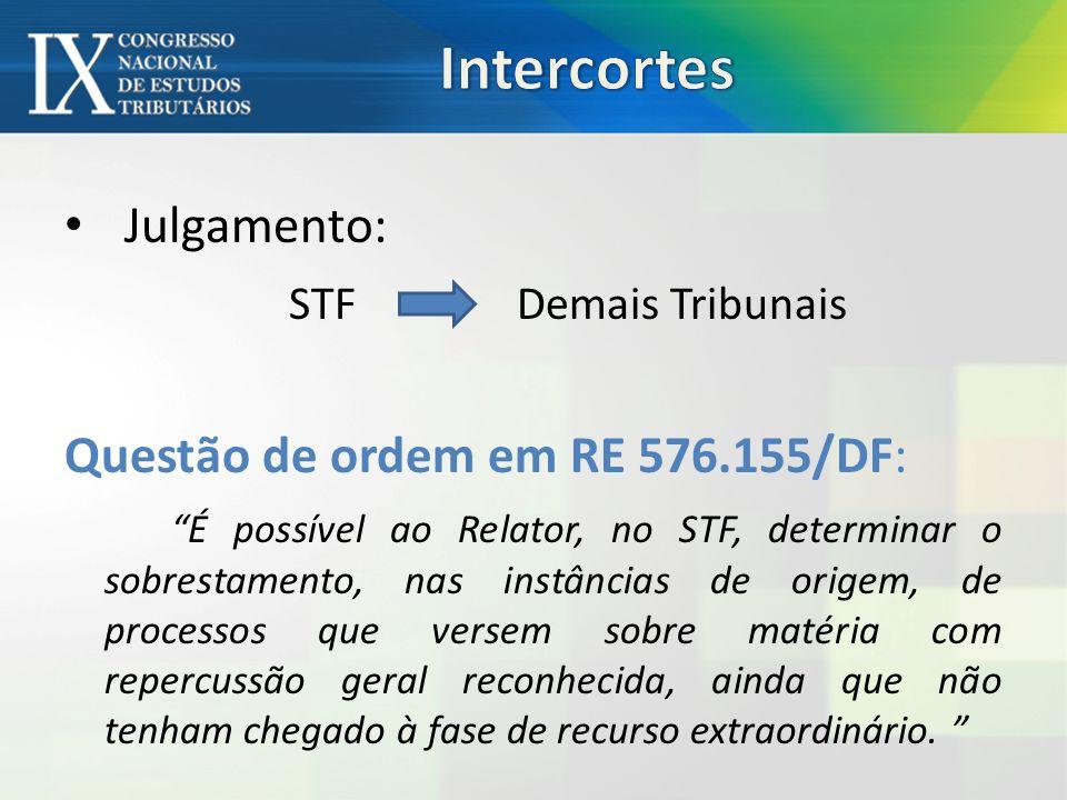 Julgamento: STF Demais Tribunais Questão de ordem em RE 576.155/DF: É possível ao Relator, no STF, determinar o sobrestamento, nas instâncias de origem, de processos que versem sobre matéria com repercussão geral reconhecida, ainda que não tenham chegado à fase de recurso extraordinário.