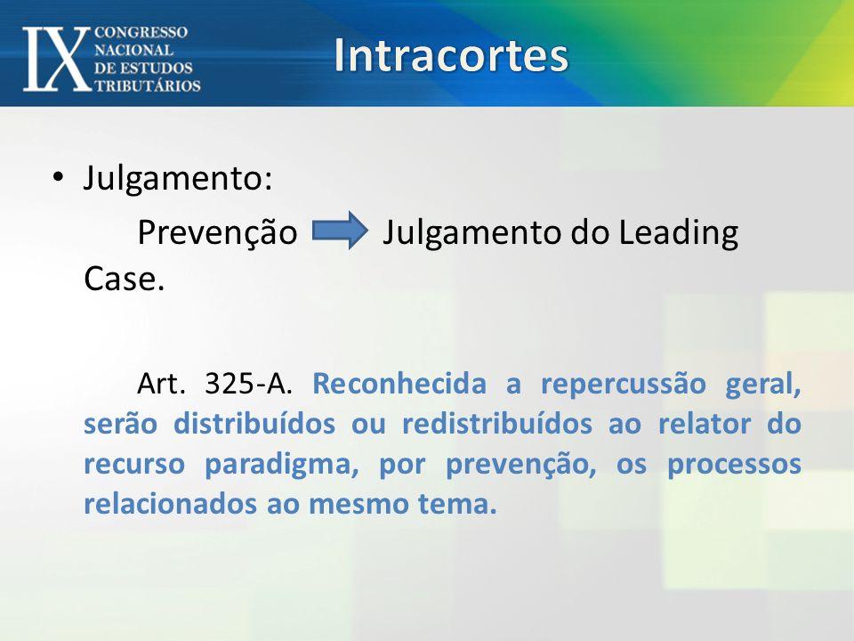 Julgamento: Prevenção Julgamento do Leading Case.Art.