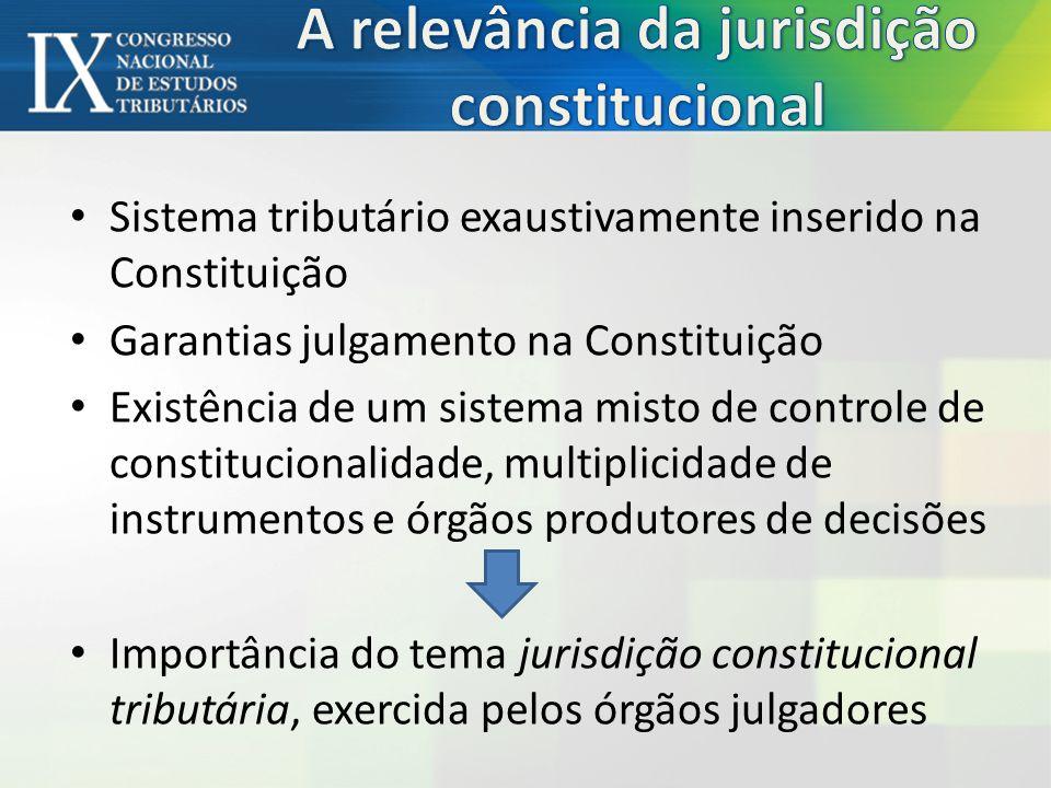 Sistema tributário exaustivamente inserido na Constituição Garantias julgamento na Constituição Existência de um sistema misto de controle de constitucionalidade, multiplicidade de instrumentos e órgãos produtores de decisões Importância do tema jurisdição constitucional tributária, exercida pelos órgãos julgadores