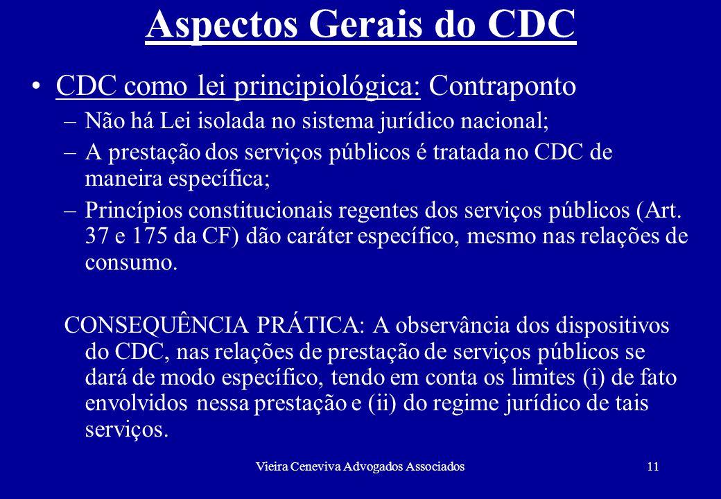 Vieira Ceneviva Advogados Associados11 Aspectos Gerais do CDC CDC como lei principiológica: Contraponto –Não há Lei isolada no sistema jurídico nacion