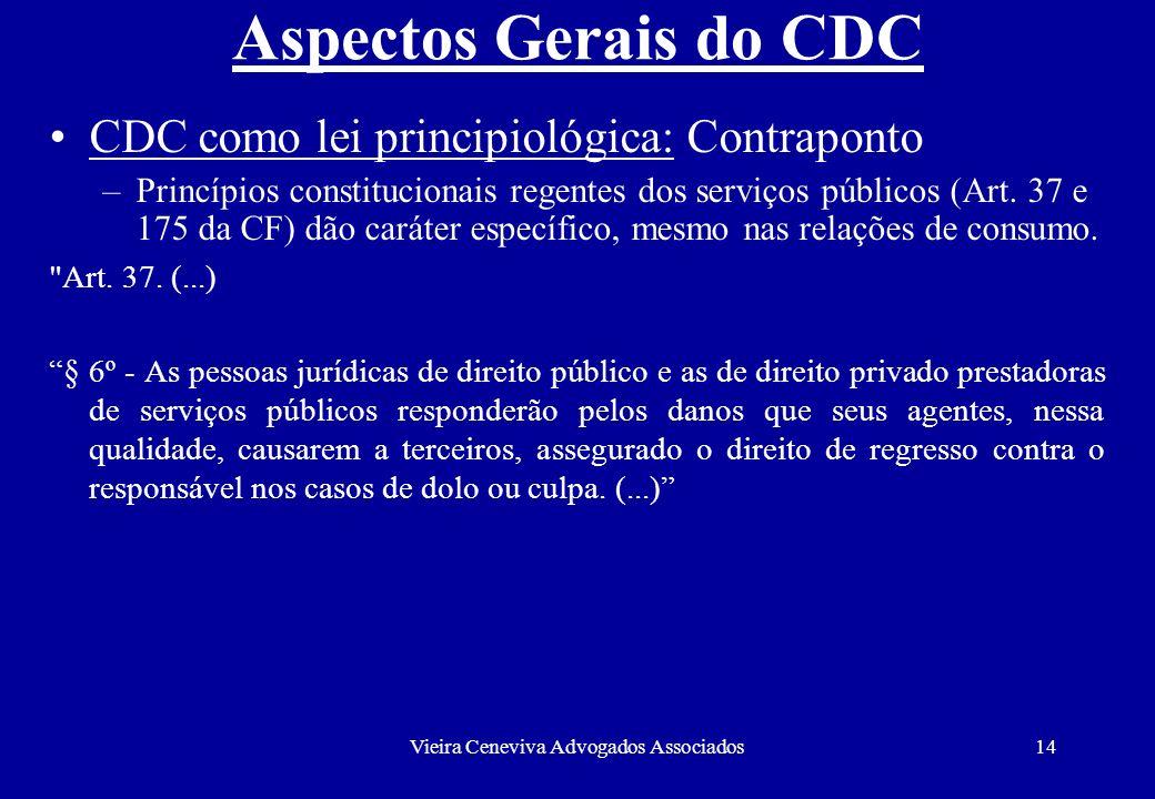 Vieira Ceneviva Advogados Associados14 Aspectos Gerais do CDC CDC como lei principiológica: Contraponto –Princípios constitucionais regentes dos servi