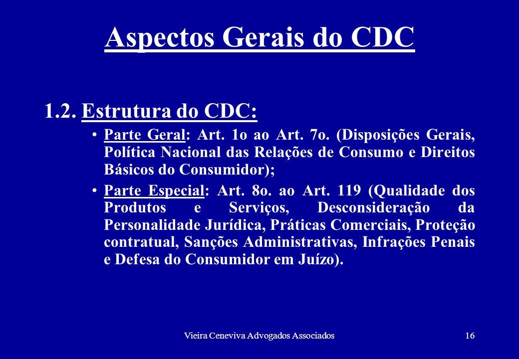 Vieira Ceneviva Advogados Associados16 Aspectos Gerais do CDC. 1.2. Estrutura do CDC: Parte Geral: Art. 1o ao Art. 7o. (Disposições Gerais, Política N