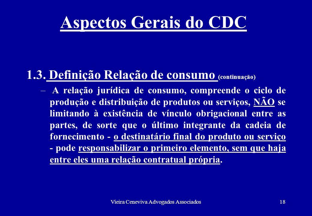 Vieira Ceneviva Advogados Associados18 Aspectos Gerais do CDC 1.3. Definição Relação de consumo (continuação) – A relação jurídica de consumo, compree