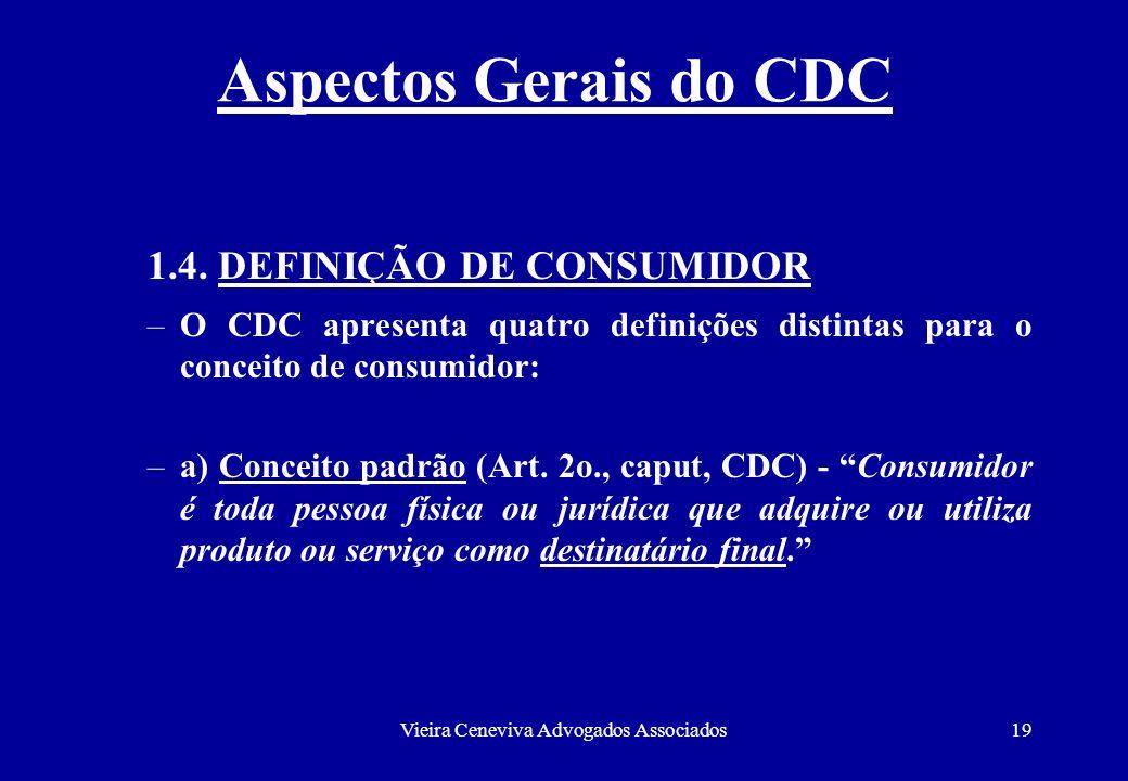 Vieira Ceneviva Advogados Associados19 Aspectos Gerais do CDC 1.4. DEFINIÇÃO DE CONSUMIDOR –O CDC apresenta quatro definições distintas para o conceit
