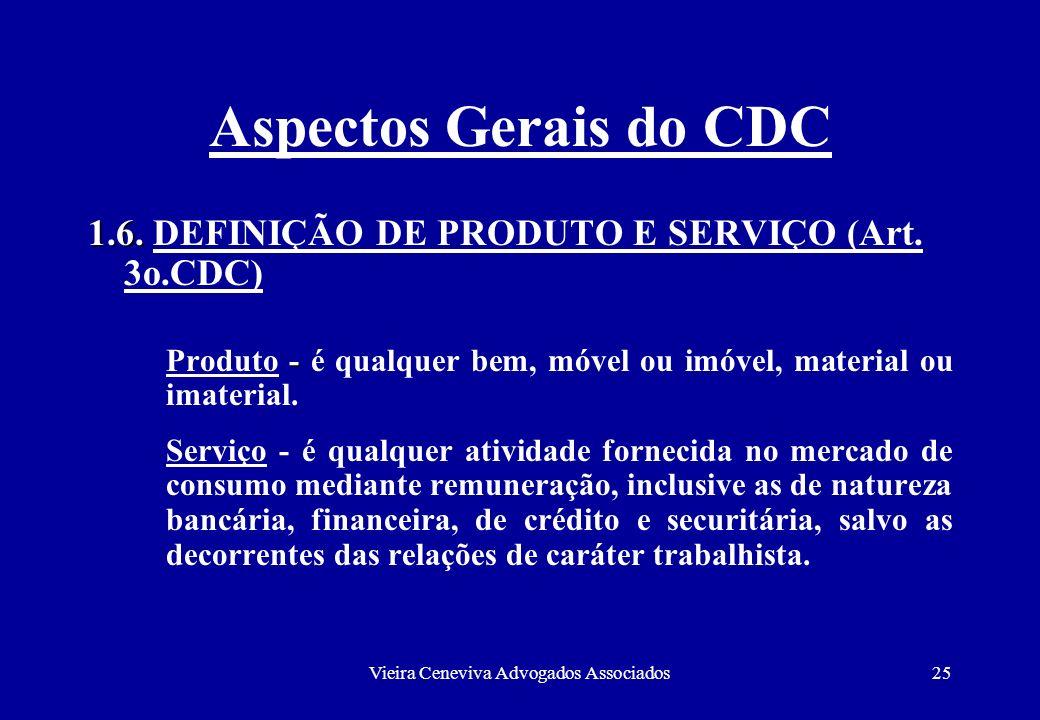 Vieira Ceneviva Advogados Associados25 Aspectos Gerais do CDC 1.6. 1.6. DEFINIÇÃO DE PRODUTO E SERVIÇO (Art. 3o.CDC) - Produto - é qualquer bem, móvel