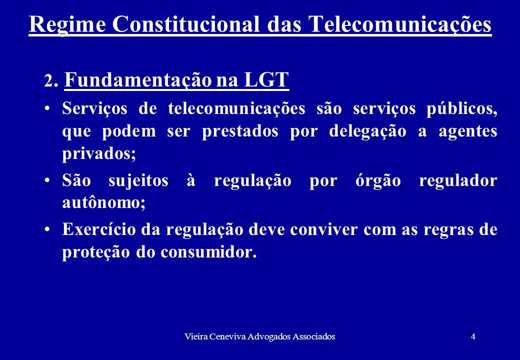 Vieira Ceneviva Advogados Associados4 Regime Constitucional das Telecomunicações 2. Fundamentação na LGT Serviços de telecomunicações são serviços púb
