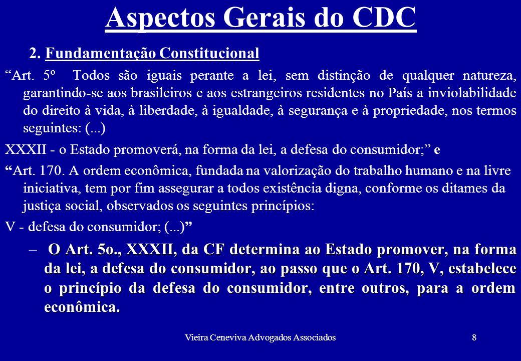Vieira Ceneviva Advogados Associados9 Aspectos Gerais do CDC Fundamentação Constitucional (continuação) – O CDC foi instituído por força do Art.