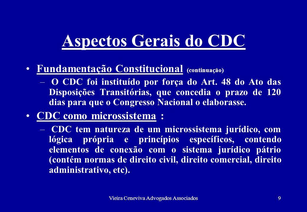 Vieira Ceneviva Advogados Associados9 Aspectos Gerais do CDC Fundamentação Constitucional (continuação) – O CDC foi instituído por força do Art. 48 do