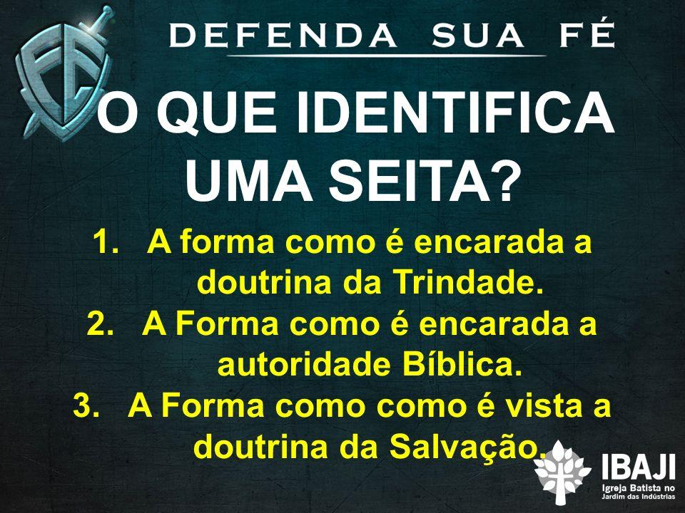 O QUE IDENTIFICA UMA SEITA? 1.A forma como é encarada a doutrina da Trindade. 2.A Forma como é encarada a autoridade Bíblica. 3.A Forma como como é vi