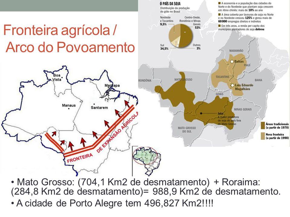 Fronteira agrícola / Arco do Povoamento Mato Grosso: (704,1 Km2 de desmatamento) + Roraima: (284,8 Km2 de desmatamento)= 988,9 Km2 de desmatamento. A
