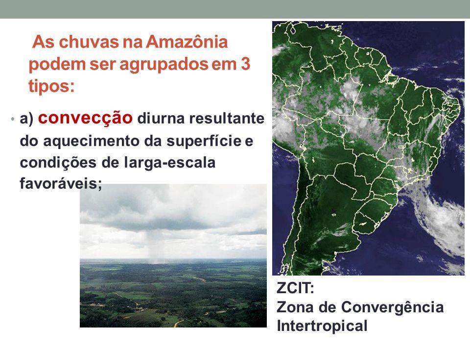 As chuvas na Amazônia podem ser agrupados em 3 tipos: a) convecção diurna resultante do aquecimento da superfície e condições de larga-escala favoráve