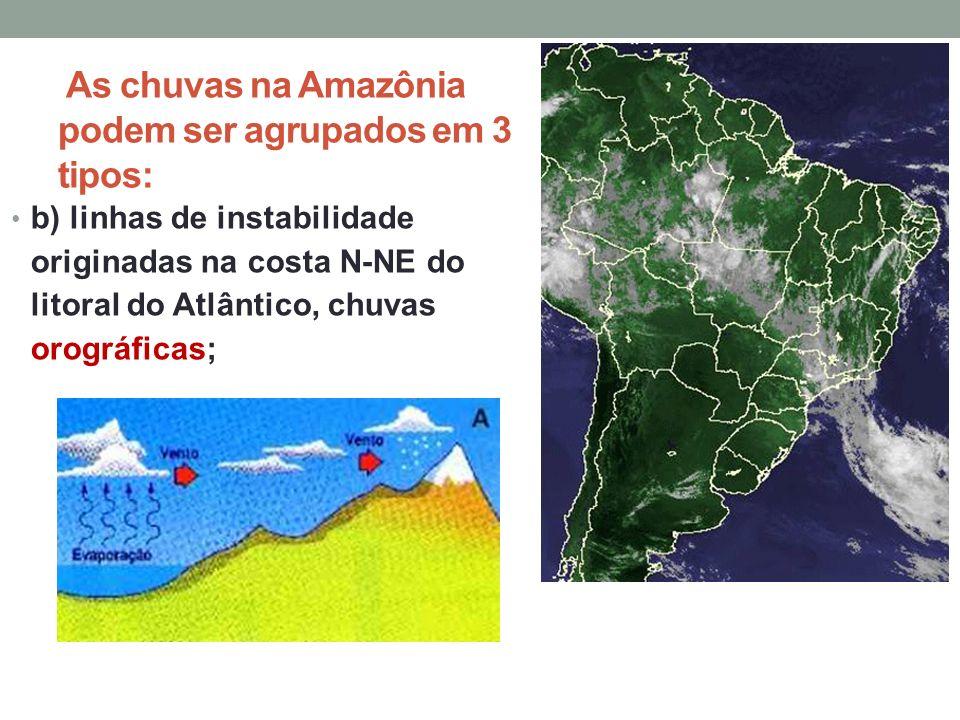 As chuvas na Amazônia podem ser agrupados em 3 tipos: b) linhas de instabilidade originadas na costa N-NE do litoral do Atlântico, chuvas orográficas;