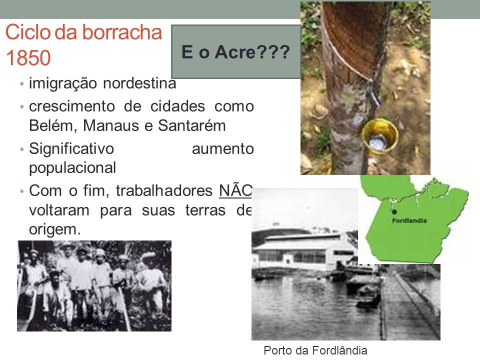 Ciclo da borracha 1850 imigração nordestina crescimento de cidades como Belém, Manaus e Santarém Significativo aumento populacional Com o fim, trabalh