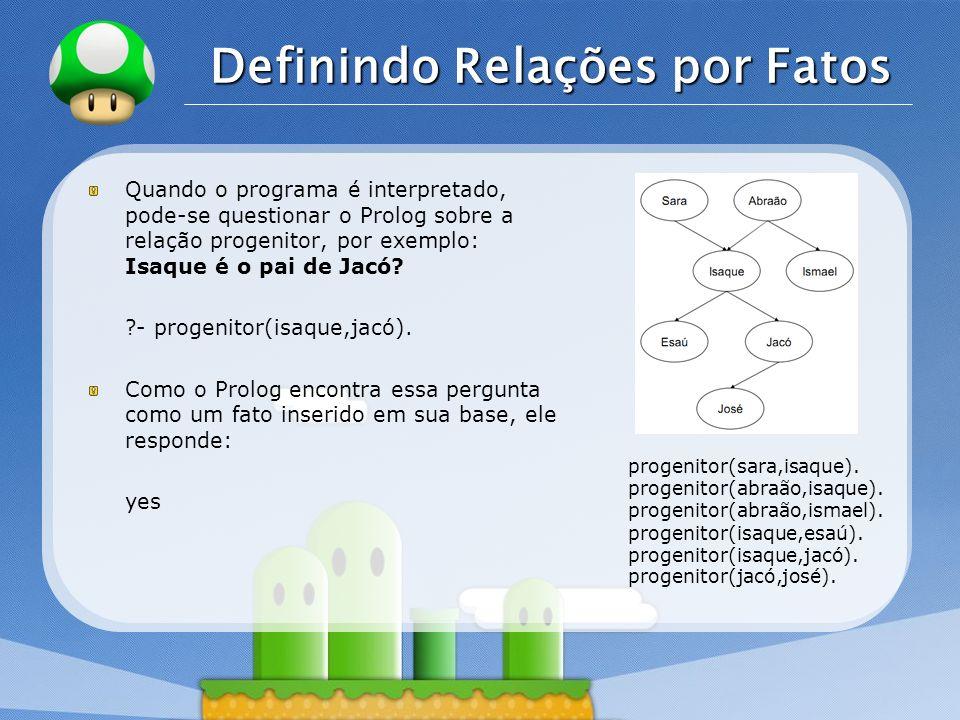 LOGO Definindo Relações por Fatos Quando o programa é interpretado, pode-se questionar o Prolog sobre a relação progenitor, por exemplo: Isaque é o pai de Jacó.