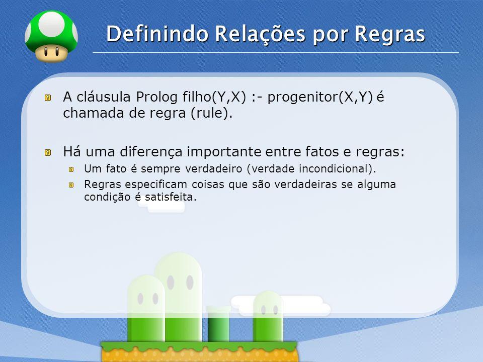 LOGO Definindo Relações por Regras A cláusula Prolog filho(Y,X) :- progenitor(X,Y) é chamada de regra (rule).