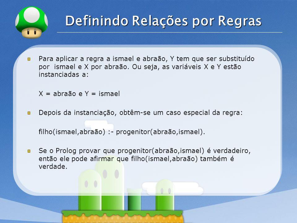 LOGO Definindo Relações por Regras Para aplicar a regra a ismael e abraão, Y tem que ser substituído por ismael e X por abraão.