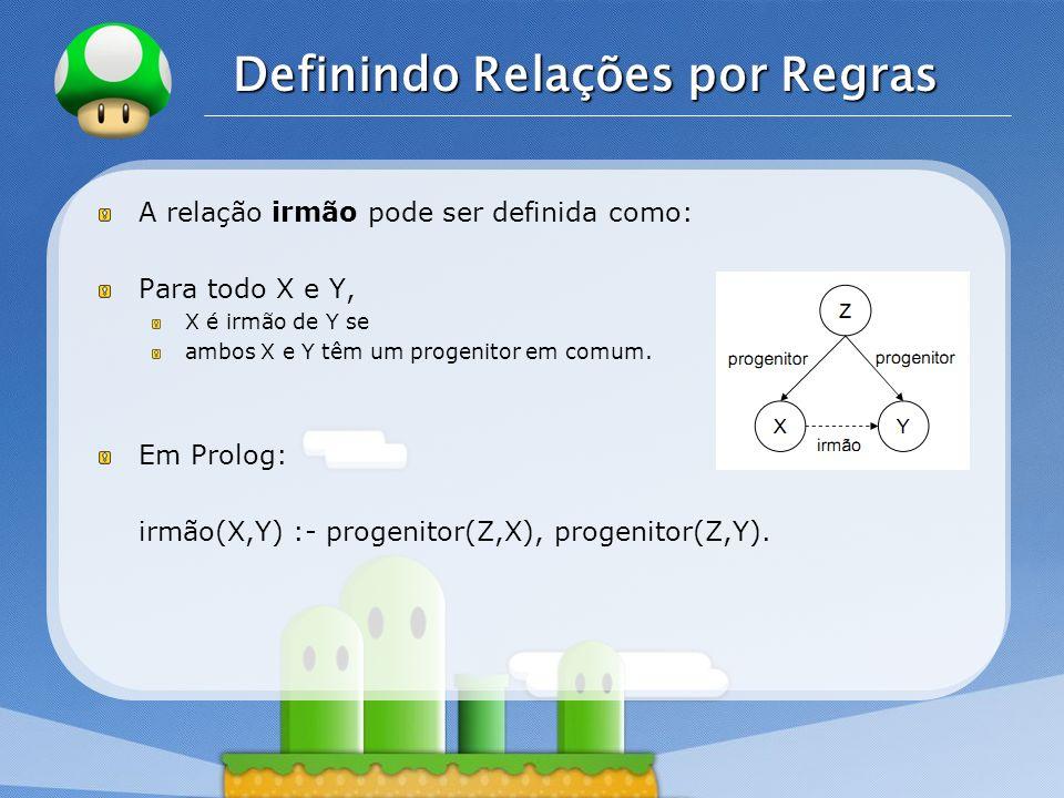 LOGO Definindo Relações por Regras A relação irmão pode ser definida como: Para todo X e Y, X é irmão de Y se ambos X e Y têm um progenitor em comum.