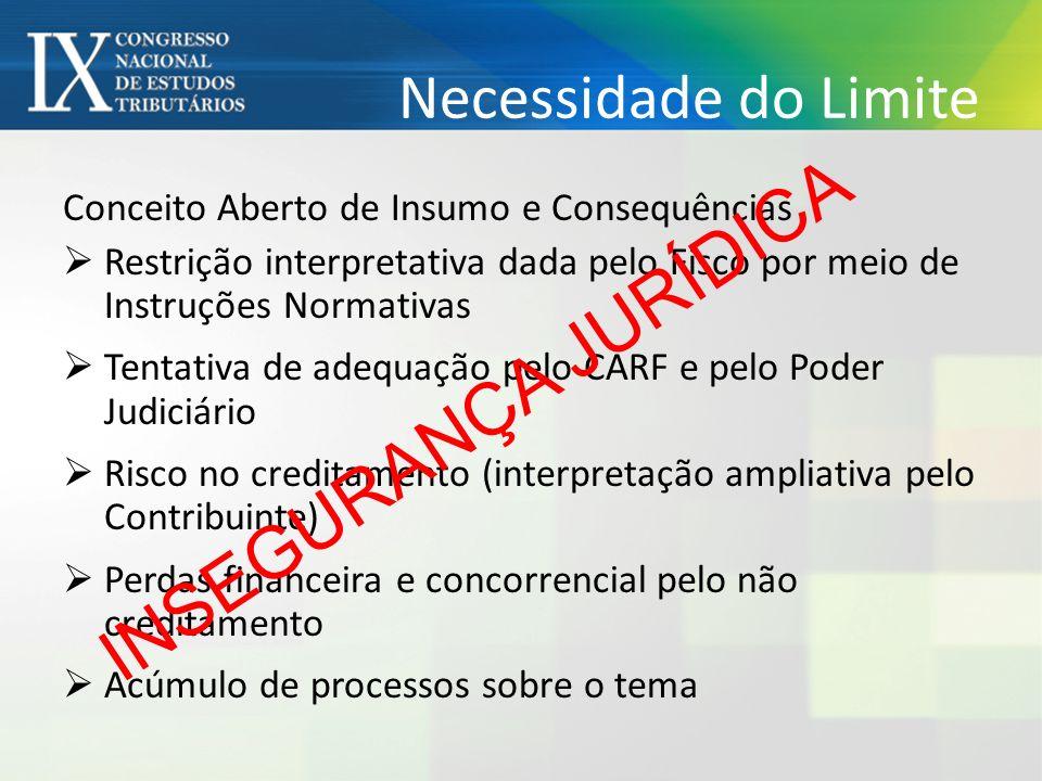 Necessidade do Limite Conceito Aberto de Insumo e Consequências Restrição interpretativa dada pelo Fisco por meio de Instruções Normativas Tentativa d