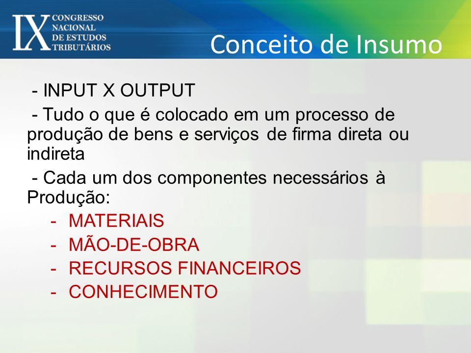 Conceito de Insumo - INPUT X OUTPUT - Tudo o que é colocado em um processo de produção de bens e serviços de firma direta ou indireta - Cada um dos co