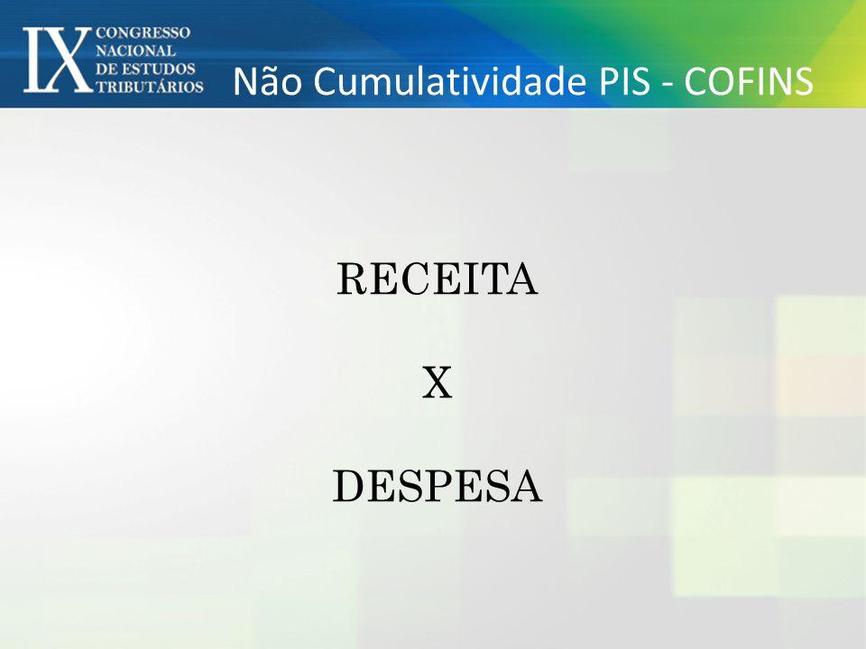 Não Cumulatividade PIS - COFINS RECEITA X DESPESA