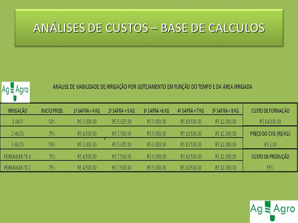 ANÁLISES DE CUSTOS – BASE DE CALCULOS