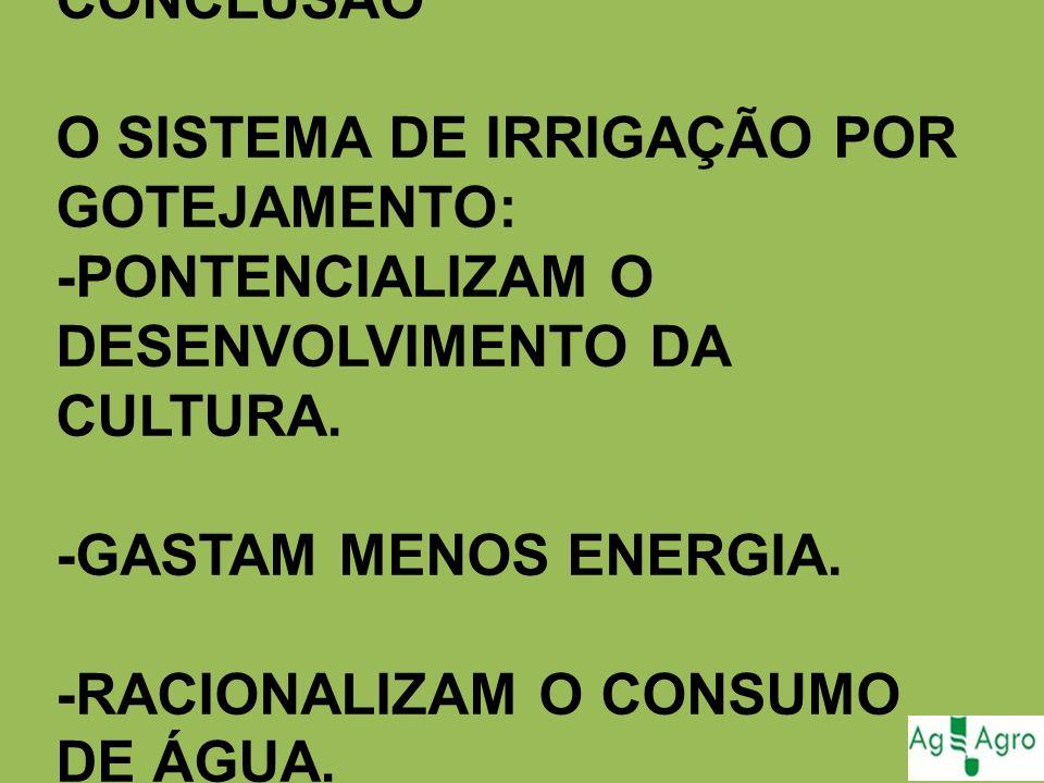 CONCLUSÃO O SISTEMA DE IRRIGAÇÃO POR GOTEJAMENTO: -PONTENCIALIZAM O DESENVOLVIMENTO DA CULTURA. -GASTAM MENOS ENERGIA. -RACIONALIZAM O CONSUMO DE ÁGUA