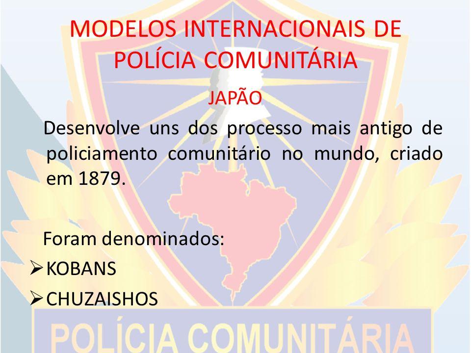 MODELOS INTERNACIONAIS DE POLÍCIA COMUNITÁRIA JAPÃO Desenvolve uns dos processo mais antigo de policiamento comunitário no mundo, criado em 1879.