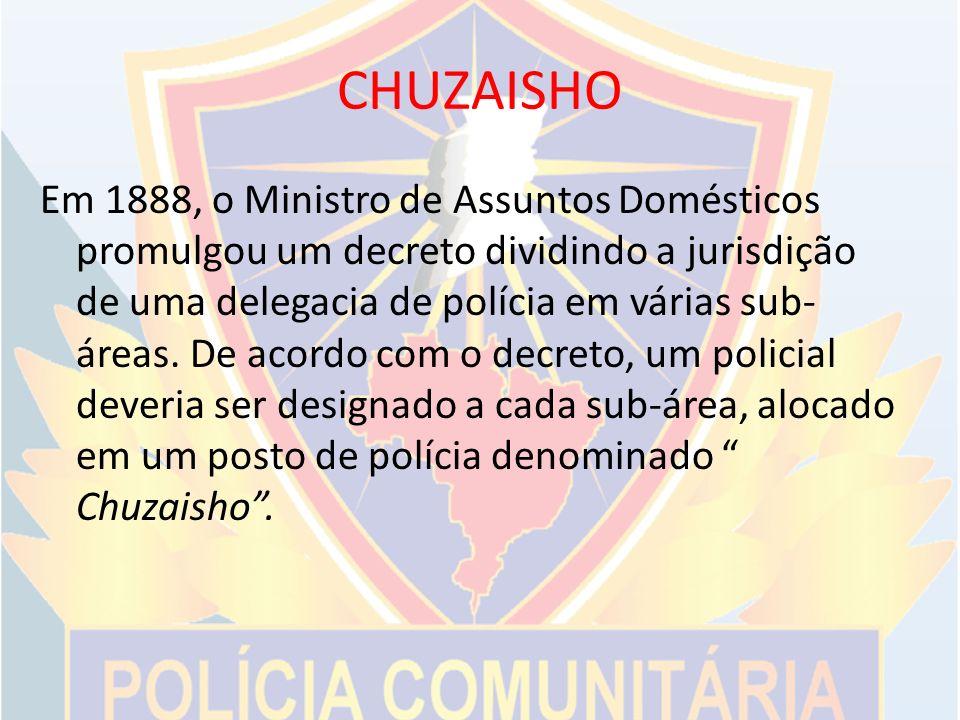 CHUZAISHO Em 1888, o Ministro de Assuntos Domésticos promulgou um decreto dividindo a jurisdição de uma delegacia de polícia em várias sub- áreas.