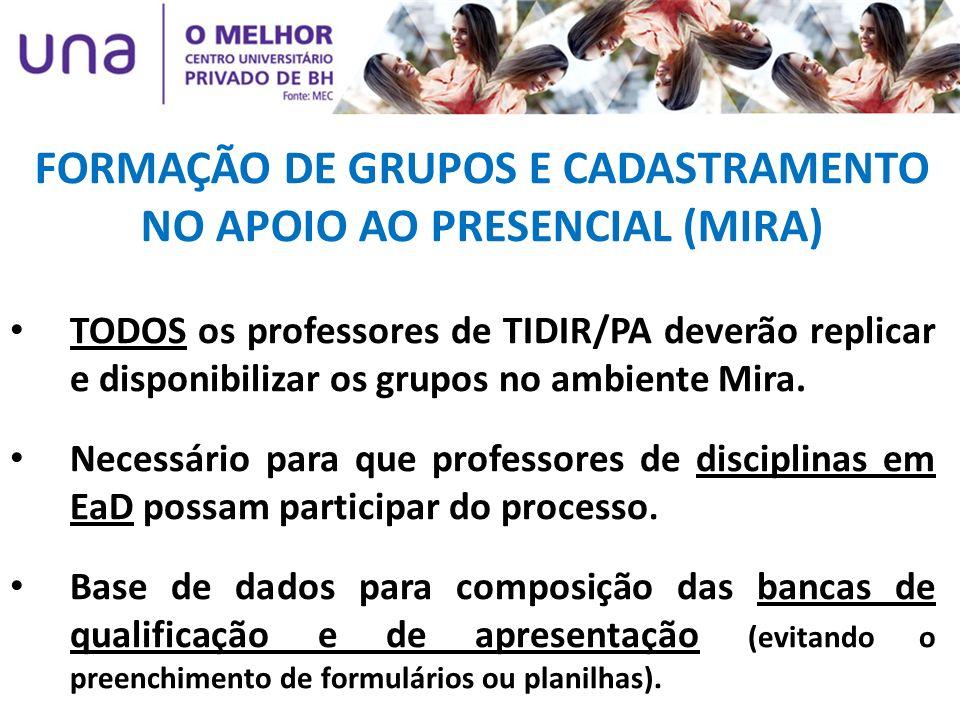 TODOS os professores de TIDIR/PA deverão replicar e disponibilizar os grupos no ambiente Mira. Necessário para que professores de disciplinas em EaD p